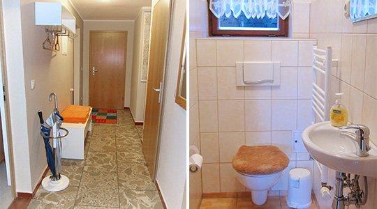 Ferienwohnung Haseloff Flur und Toilette
